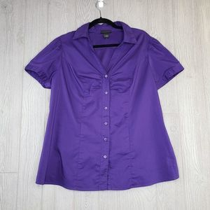 Lane Bryant Plus Size Purple Button Down Top